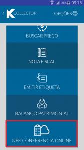Coletor de dados Kcollector menu