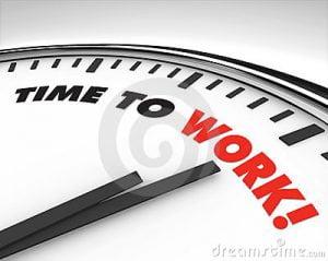relógio e ponteiros time to work
